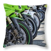 Bikes Lined Throw Pillow