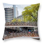 Bikes Parking In Amsterdam Throw Pillow
