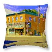 Biking By The Bakery On Bank The Glebe Nicastro Foods And David's Tea Ottawa Streetscene Cspandau    Throw Pillow