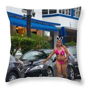 Bikini Bunny In Miami Throw Pillow