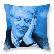 Bill Clinton Throw Pillow by Victor Minca