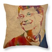 Bill Gates Microsoft Ceo Watercolor Portrait On Worn Distressed Canvas Throw Pillow by Design Turnpike