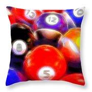 Billiard Balls On The Table Throw Pillow