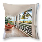 Billowing White Curtains Throw Pillow