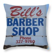 Bill's Barber Shop Throw Pillow