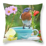 Billy Bluebird Having Tea Throw Pillow
