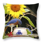 Bluebird And Tea Cup Throw Pillow