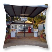 Billy Carters Old Service Station In Plains Georgia Throw Pillow