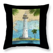 Biloxi Lighthouse Ms Nautical Chart Art Cathy Peek Throw Pillow