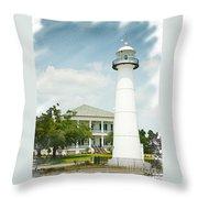 Biloxi Lighthouse Sketch Photo Throw Pillow