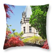 Biltmore And Japanese Maple Trees Throw Pillow