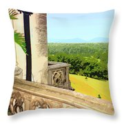 Biltmore Balcony Asheville Nc Throw Pillow by William Dey