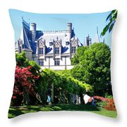 Biltmore House And Gardens Throw Pillow