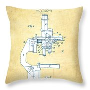 Binocular Microscope Patent Drawing From 1931 - Vintage Paper Throw Pillow