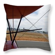 Biplane Taxying Back To Tie Down Throw Pillow