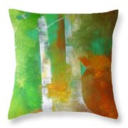 Birch In Fall Colors Throw Pillow