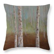 Birch In The Mist Throw Pillow