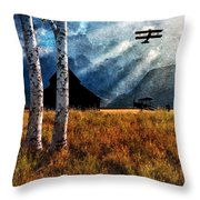 Birch Trees And Biplanes  Throw Pillow