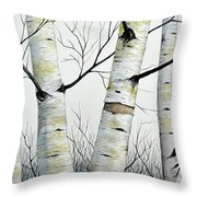 Birch Trees In The Forest By Christopher Shellhammer Throw Pillow