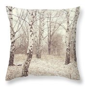 Birch Trees In The Snow. Winter Poems Throw Pillow