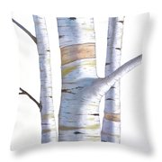 Birch Trees In Three Throw Pillow