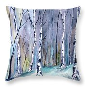 Birches In The Forest Throw Pillow