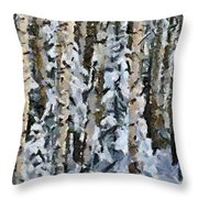 Birches In The Winter Throw Pillow