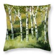 Birches On A Hill Throw Pillow by Michelle Calkins