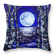 Birches With Shining Water Throw Pillow