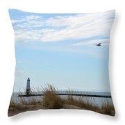 Bird And Lighthouse Throw Pillow