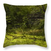 Bird By Bridge In Forest Merged Image Throw Pillow