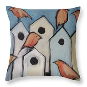 Bird Condo Association Throw Pillow