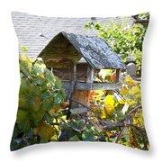 Bird Feeder Amongest The Grapevines Throw Pillow