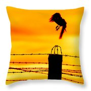 Bird Flying Off From Prison Fence Throw Pillow