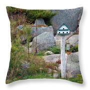 Bird House And Chimes Throw Pillow