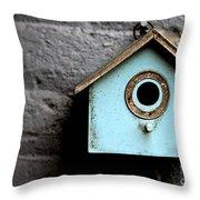 Bird House Of Blue By Diana Sainz Throw Pillow