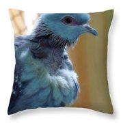 Bird In Blue Dress Throw Pillow