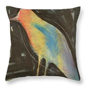 Bird In Gilded Frame Sans Frame Throw Pillow