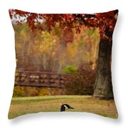 Bird In Park Throw Pillow