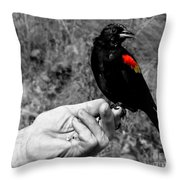 Bird In The Hand.seattle.bw Throw Pillow