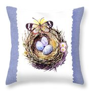 Bird Nest With Daisies Eggs And Butterfly Throw Pillow