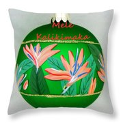 Bird Of Paradise Christmas Bulb Throw Pillow