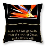Bird Of Paradise Flower With Bible Quote From Isaiah Throw Pillow
