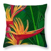 Bird Of Paradise Painting Throw Pillow