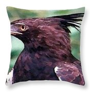 Bird Of Prey In Watercolor Throw Pillow