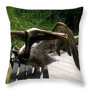 Bird On A Bench Throw Pillow