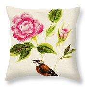 Bird On A Flower Throw Pillow