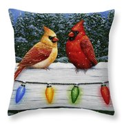 Bird Painting - Christmas Cardinals Throw Pillow by Crista Forest