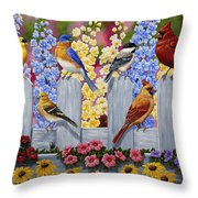 Bird Painting - Spring Garden Party Throw Pillow by Crista Forest