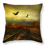 Country Bird Rail Throw Pillow